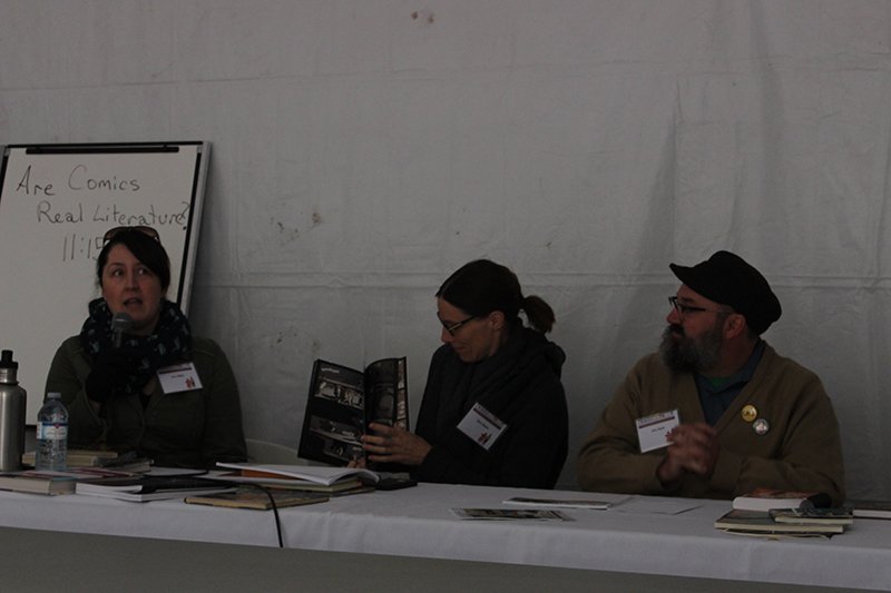 (right to left) Erin Millar, Sam Hester and Eric Dyck sat down for a discussion on comic books at the Word on the Street festival in Lethbridge on September  23, 2017