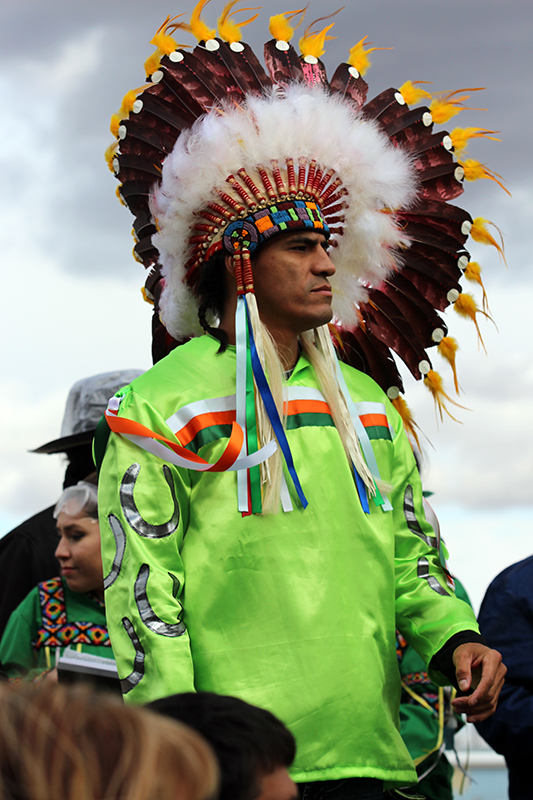 Robin Daniels from the Mistawasis First Nation stands proudly as his team is honoured at the Canadian Indian Relay Race Championships Saturday in Exhibition park.