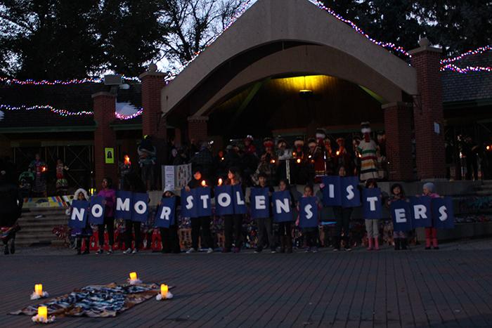 Indiginous children prostesting at the Sisters in Spirit vigil in Galt Gardens on October 04, 2017