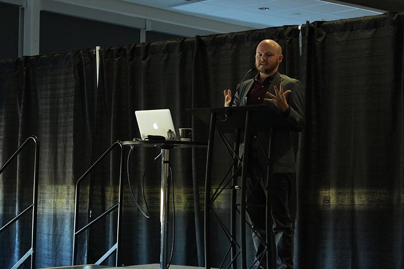 Mike Morrison speaking at the Digital X event at the Enmax Center on September 28, 2017