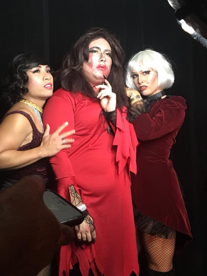 Franchesa Dynamite (left), Sophie Wright (centre) and Shady Devile (right) pose for a photo after their performance at Club Didi.