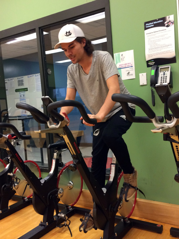 Seth Slomp takes a break from his studies to get his heart-rate up in Lethbridge College's Be Fit for Life Centre Tuesday afternoon.
